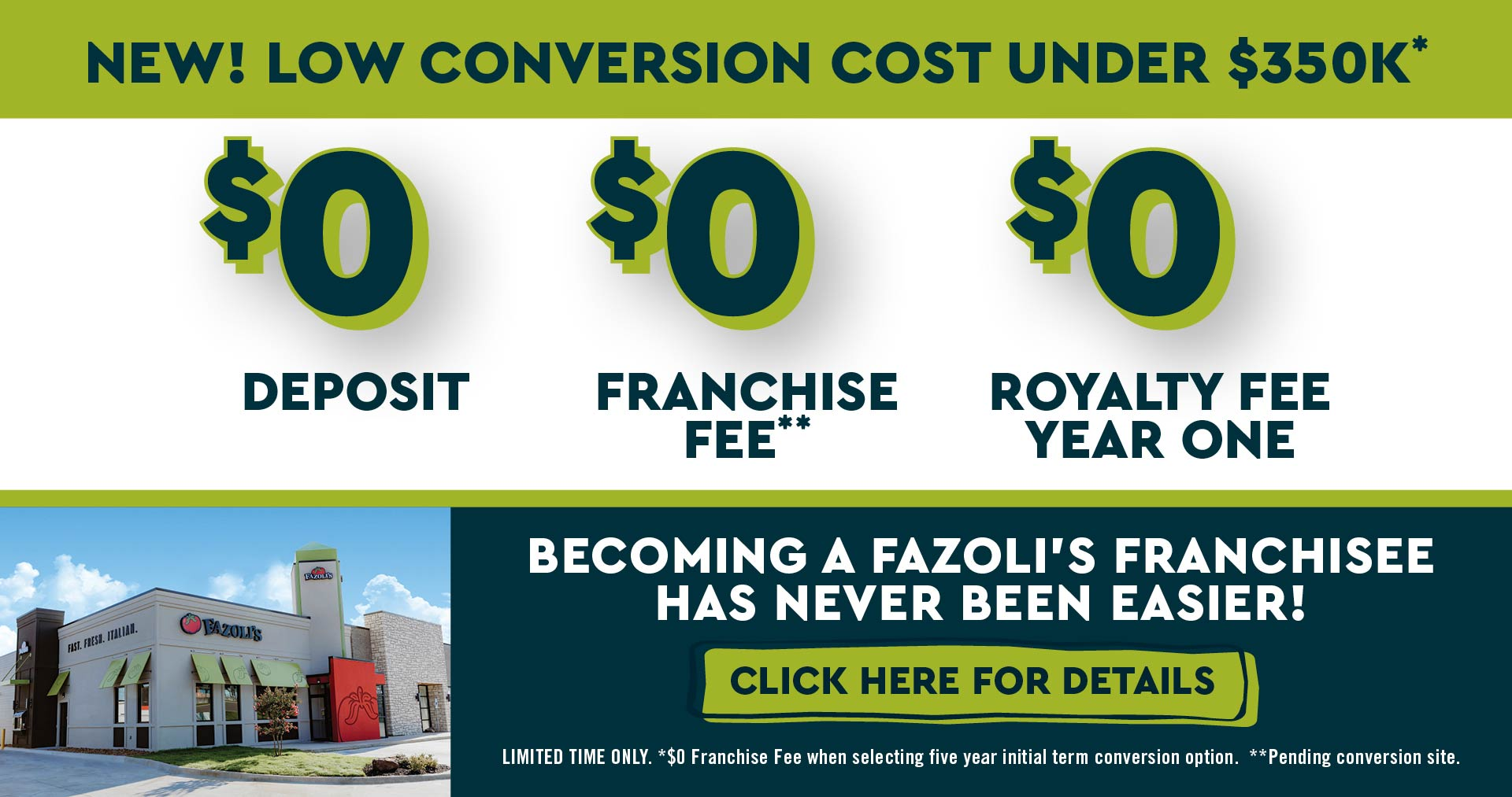 New Low Converstion Cost Under $350K - $0 Deposit, Franchise Fee and Roylaty Fee for Year One. Becoming a Franchisee has never been Easier! Limited Time Only, Terms Apply.